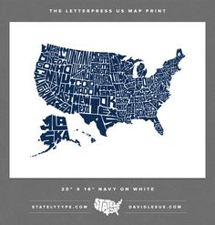 Stately Type - Hand-lettered US Map by David Lesue — Kickstarter
