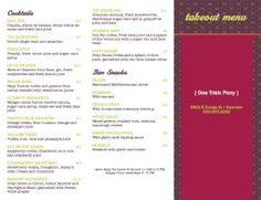 Drink Specials Folding Menu | Takeout Menus