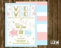 Twinkle Twinkle Little Star Gender Reveal Invitation by OohLaLlew on Etsy there are also other matching printables