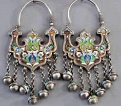 Earrings made for the Bukharan (Uzbekistan) market, enamelled in Russia. This style of enamelling is Russian, usually produced in Kubachi, Dagestan, from which many pieces were exported to other countries in the region.