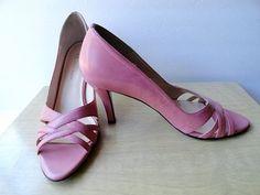 Vintage Shoes  Pink Vintage AK Anne Klein Leather Bubble Gum Pink Classic Pumps Anne Klein Pink Shoes\Size 6 Designer Leather High Heel Pump