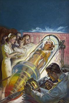 retro futurism / vintage future illustration / science fiction / sci fi / atomic age / space age