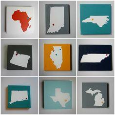 State maps / Pinturas de mapas de estados, países e continentes
