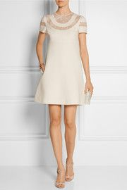 Valentino Lace-paneled wool and silk-blend crepe mini dress