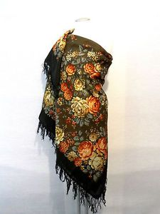 """Beautiful Original Pavlovo Posad (Pavloposad) Russian shawl """"Floral Fairytale"""" with woollen fringes.  Material: 100% wool New item with tags. Size:  57 1/2 Inch x 57 1/2 Inch / 146 cm x 146 cm (measured without fringes) Background colour - black. Elaborate designer's shawl, created by the artist Nadezhda Slasheva."""