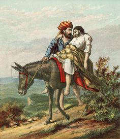 The Good Samaritan caring for the wounded traveller. Illustration for Bible…