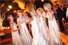 Bridesmaids Dresses in Neutrals:  Champagne, Beige, and Pale Gold