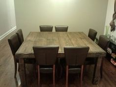 Square Farmhouse Table Reclaimed Wood Farmhouse by ThisOldWoodShop Farmhouse Dining Room Table, Rustic Table, Wood Table, Kitchen Tables, New Kitchen, Kitchen Decor, Kitchen Ideas, Kitchen Design, Square Dining Tables