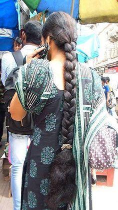 ℳanmathan December 12 2018 at Indian Long Hair Braid, Long Hair Ponytail, Braids For Long Hair, Long Hair Cuts, Long Hair Styles, Indian Hairstyles, Girl Hairstyles, Braided Hairstyles, School Hairstyles