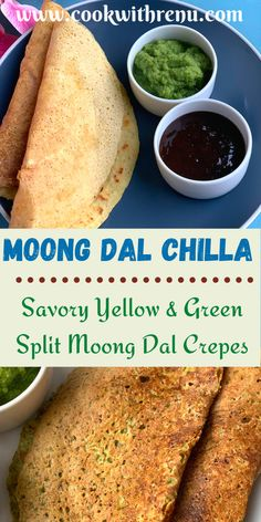 Moong Dal Chilla is a nutritious, healthy and flourless savory crepes from North of India generally enjoyed as breakfast or snacks. . Made using Yellow or Green Split Moong Dal, they are protein and fiber rich. Quick to make and needs to fermentation. . #Vegetarian #Healthy #Breakfast #Chila #Chilla #MoongDal #ProteinRich #FiberRich #DiabeticRecipes #DiabeticFriendly #Vegan #GlutenFree #Flourless #Delicious #Recipes #Easy #Quick #Kidsfood #ToddlerFood #LunchBoxRecipes #PartyFood Dairy Free Recipes, Vegan Recipes Easy, Vegetarian Recipes, Delicious Recipes, Vegetarian Cooking, North Indian Recipes, Indian Food Recipes, Lunch Box Recipes, Snack Recipes