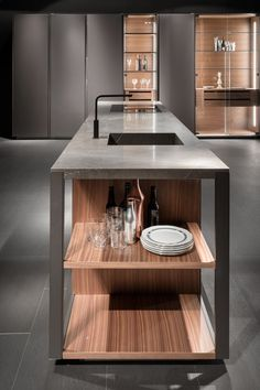 Lacquered kitchen with island without handles VISION By ELAM
