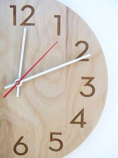 birch wall clock with laser engraved numbers-- natural and modern