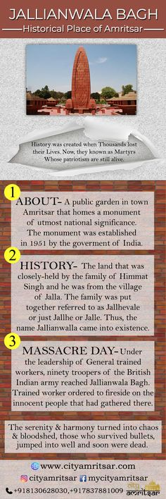 """Know about the Jallianwala Bagh one of the historical tourist destination of Amritsar. Have a look at the Infographic presenting """"Jallianwala Bagh-Historical Place of Amritsar. Jallianwala Bagh Massacre, The Rifleman, History Of India, Golden Temple, Historical Artifacts, Amritsar, Public Garden, Infographic, Places To Visit"""