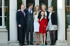 Prince Amedeo with fiancé Elisabetta Rosboch and his siblings Prince Joachim. Princess Maria-Laura, Princess Laetitia-Maria and Princess Luisa Maria 2/16/2014