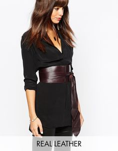 Image 1 ofBlack & Brown Premium Leather Oversized Obi Belt