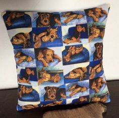 Cushion with Airedales. The Gone To Bed designs printed on to soft cotton canvas