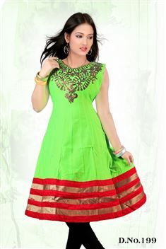Elegant personality with new SIXMETER Green #Casual Wear #Anarkali Style #Kurti for lovely lady.