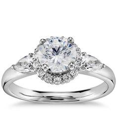 Truly Zac Posen Halo Diamond Engagement Ring in Platinum