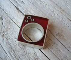 Silver and resin ring.