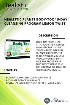 """Body-Tox from Healisitic Planet is a gentle and effective 15-Day internal cleanse program.It is formulated with all natural ingredients and superfood """"Oil Palm Trunk Fiber"""" & """"Spriulina"""" designed to detoxify, clean out and refresh your body without side-effects. Body-Tox will also support healthy colon function and promote regularity without the use of laxatives. Cleanse Program, Colon Health, Water Retention, Spirulina, Side Effects, Immune System, Metabolism, Detox, Planets"""