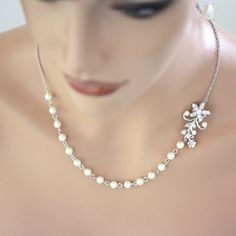 Pearl Bridal Necklace, Vintage Rhinestone Flower , Simple Pearl Necklace, Wedding Jewelry  Violet