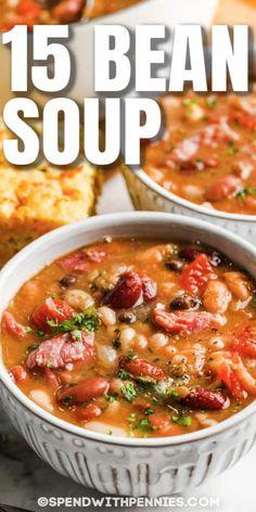 15 Bean Soup, Soup Beans, Ham And Bean Soup, Ham Soup, Bean Soup Recipes, Gumbo Recipes, Recipes Dinner, Healthy Meal Prep, Healthy Soup