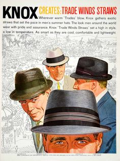 1960 color print ad for Knox Trade Winds Straw summer hats for men featuring Don Draper-like characters. The styles illustrated are: the Antigua; the Barbados; the Capri; and the Panay.