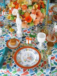 Rosa Beltran Design {Blog} gold flatware holiday table decor party birthday orange turquoise aqua blue colorful confetti