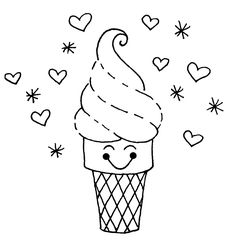 Cute Ice Cream Coloring Pages Printable And Book To Print For Free Find More Online Kids Adults Of