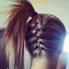 French Braid into a Bun/Ponytail: So basically just do an upside down french braid starting from the bottom and then just tie your hair in a bun or a ponytail and it makes a really cute hairstyle! Description from pinterest.com. I searched for this on bing.com/images