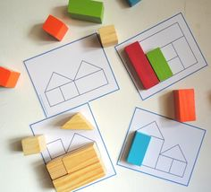 Sequences - kids match blocks to make the shape in the picture