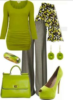 Gray Pants with Lime Green Blouse, Shoes, and Accessories