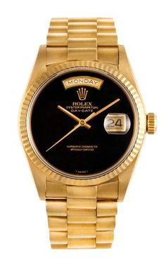 Gold & black  CMT Fine Watch and Jewelry Advisors Rolex 18K Yellow Gold Day-Date President with Black Onyx Dial