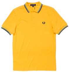 Stand out in this Fred Perry classic! This attention getting modern yellow pique polo has contrasting modern blue & black stripes on the collar and sleeves with Laurel Wreath embroidery on the chest in black. The offers a fit comparable to the b Twin Tips, Laurel Wreath, Fred Perry, Cotton Style, Slacks, Contemporary, Modern, Black Stripes, Looks Great