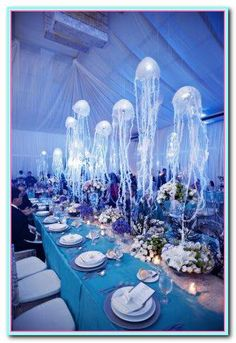 under the sea wedding motif with hanging jellyfish table decorations - great aquarium wedding idea Wedding Reception Entrance, Unique Wedding Venues, Wedding Ideas, Entrance Table, Trendy Wedding, Jellyfish Light, Pink Jellyfish, Sea Wedding Theme, Under The Sea Decorations