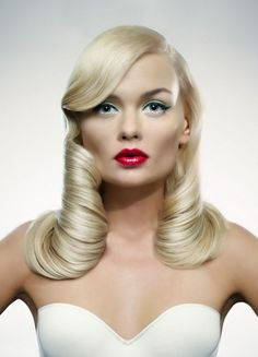 old hollywood glam http://www.HairNewsNetwork.com GET LISTED!  I think I found the hairstyle I want for my wedding!! And I love the lip color. ❤️