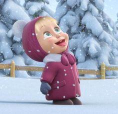 Masha And The Bear Happy Snow Wallpaper
