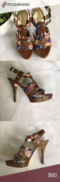 Gorgeous Boho Style Heels From Guess Size 5.5 😍 Size 5.5 Brown boho style 3 inch heels from Guess & they are in great condition! Only wore once & realized 3 inch heels weren't made for me 🤣 There are a few signs of wear shown by the photos. And on the side of both the heels there is glue from when they made them. But you can't see it unless you are looking directly at the bottom!  🌵Willing to accept reasonable offers 🍉BUNDLE & SAVE!! Guess Shoes Heels
