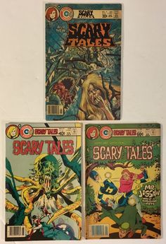 Scary Tales #s 9, 20, 38 Lot of 3 Charlton Horror Comic Books - Vintage Bronze Age 1977-1983