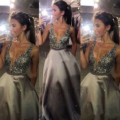 V Neck Evening Dresses Bling Rhinestones Crystals Formal Party Gowns Custom Made