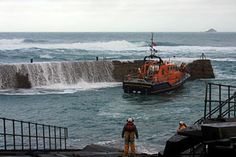 """Sennen lifeboat """"City of London III"""" at Newlyn harbour on the morning of Saturday 25th January 2014 as weather conditions prevented her safe recovery to the Sennen Cove lifeboat station during the night."""