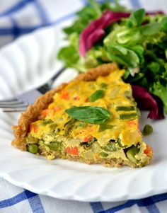 Vegan Asparagus & Fennel Quiche with a Quinoa Crust (Gluten-free). Perfect for your Easter lunch!