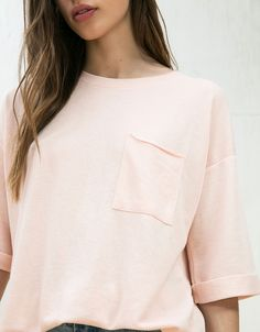 Bershka France - Sweat-shirt oversize manches courtes roll up