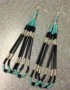 Native American Style Beaded Earrings by prettyuniquedesigns2
