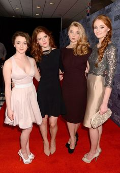 Game of Thrones Arya Stark/Maisie Williams, Ygritte/ Rose Leslie, Margaery Tyrell/Natalie Dormer, and Sansa Stark/Sophie Turner Rose Leslie, Arte Game Of Thrones, Game Of Thrones Arya, Natalie Dormer, Game Of Throne Actors, Isabelle Huppert, Beautiful People, Beautiful Women, Game Of Trones