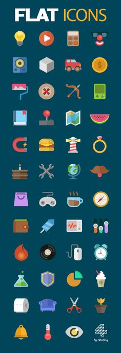 Free flat icons (Vector PSD) #vectoricons #flaticons #freeicons #colorfulicons