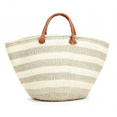 Handmade Grey and white striped tote x H. Sisal Hand-Sewn Leather Handles Each piece is unique slight variations are normal Cheap Handbags, Handbags Online, Handbags On Sale, Grey Handbags, Oversized Handbags, Purses Online, Wholesale Handbags, Fashion Bags, Fashion Accessories