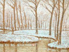 Studio 2000 Collection #TEFAF2017, Forest with reflective sun, winter, William Degouve de Nuncques