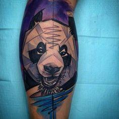 Watercolor Panda Tattoo by Szabi