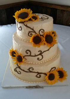 Rustic Sunflower Wedding Cake by Samantha Eyth of Samantha's Sweets